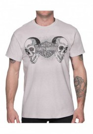 Harley-Davidson Hommes Duo Skulls B&S manches courtes All-Cotton T-Shirt Gray 30292399