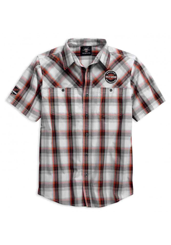 Harley-Davidson Hommes Genuine Oil Can manches courtes Plaid Woven Shirt 99067-18VM
