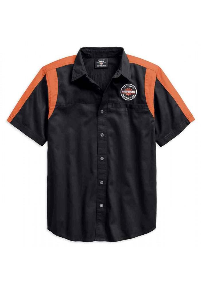 Harley-Davidson Hommes Genuine Oil Can Colorblocked Woven Shirt 99066-18VM