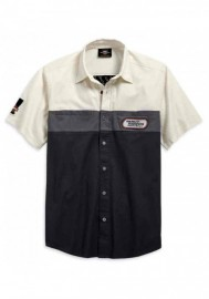 Harley-Davidson Hommes Racing Colorblocked manches courtes Woven Shirt 99166-19VM