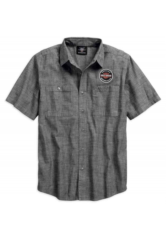 Harley-Davidson Hommes Genuine Oil Can manches courtes Woven Shirt 99068-18VM