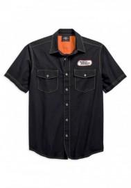 Harley-Davidson Hommes H-D Racing manches courtes Woven Shirt Noir 99165-19VM