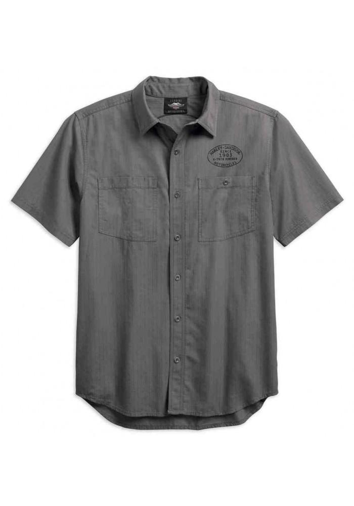 Harley-Davidson Hommes Winged Logo Textured Woven Shirt Gray 99154-19VM
