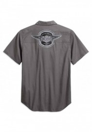 Harley-Davidson Hommes Winged Logo Textured Woven Shirt Gray 99154-19VM