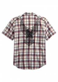 Harley-Davidson Hommes Upright Eagle manches courtes Plaid Woven Shirt 99266-19VM