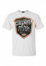Harley-Davidson Hommes Finest Shield col rond manches courtes T-Shirt - White 30292308