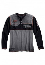 Harley-Davidson Hommes Iron Block Colorblocked manches longues Henley 99007-17VM