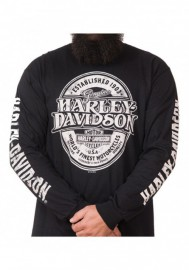 Harley-Davidson Hommes Distressed Branded Oval manches longues col rond Shirt Noir 30298812