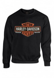 Harley-Davidson Hommes Elongated B&S Fleece Pullover Sweatshirt Noir 30298768
