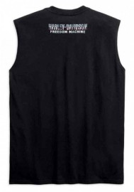 Harley-Davidson Hommes Distressed Upright Eagle Sleeveless Tee Shirt - Noir 99267-19VM