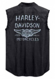 Harley-Davidson Hommes Winged B&S Logo Sleeveless Blowout Tee Shirt Noir 99157-19VM