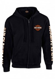 Harley-Davidson Hommes à capuche Sweatshirt Bar & Shield Zip Noir Sweat à capuche 30299142