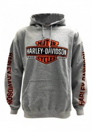 Harley-Davidson Hommes Bar & Shield Logo Pullover à capuche Sweatshirt Gray 30299144