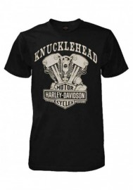 Harley-Davidson Hommes Knucklehead Engine Authentic T-Shirt Noir 30298302