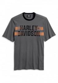Harley-Davidson Hommes Dual Stripe manches courtes T-Shirt - Asphalt Gray 96148-20VM