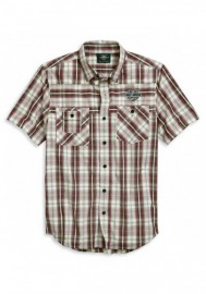 Harley-Davidson Hommes Embroidered B&S manches courtes Plaid Woven Shirt 96124-20VM