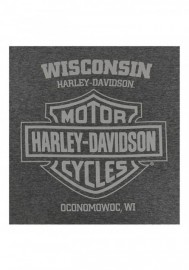 Harley-Davidson Hommes Metal Plaque Poly-Blend manches courtes Crew T-Shirt Gray 30292405