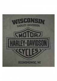 Harley-Davidson Hommes Operative manches longues col rond Cotton Shirt Charcoal 30292328