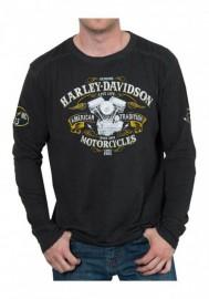 Harley-Davidson Hommes Wide Open Premium manches longues Shirt - Noir Wash 30298593