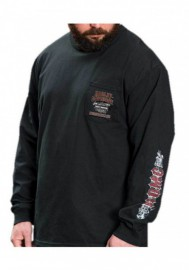 Harley-Davidson Hommes Vapor Chest Pocket manches longues col rond Shirt Noir 30294772