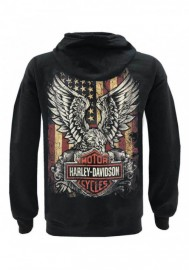 Harley-Davidson Hommes Custom Freedom Fleece Pullover Sweat à capuche - Solid Noir 30298999