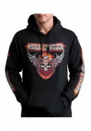 Harley-Davidson Hommes Flaming Chrome Pullover Poly-Blend Sweat à capuche - Noir 30292338