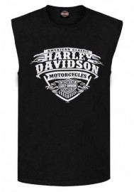 Harley-Davidson Hommes Flames Distressed Sleeveless Pocket Muscle Shirt - Noir 30298758