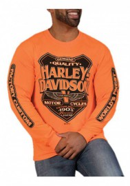 Harley-Davidson Hommes Back Alley manches longues col rond Shirt - Safety Orange 30298766