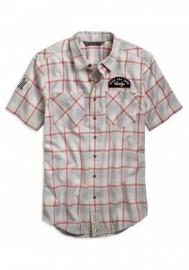 Harley-Davidson Hommes Multi-Patch Plaid Slim Fit manches courtes Shirt 96799-19VM