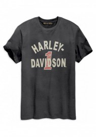 Harley-Davidson Hommes Cracked Print manches courtes Tee Shirt - Washed Noir 96002-19VM