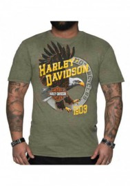 Harley-Davidson Hommes Soaring Eagle col rond manches courtes Tee Shirt - Military Green 30292283