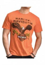 Harley-Davidson Hommes Distressed Regal Eagle Tri-Blend manches courtes Tee Shirt Orange 30292287