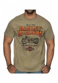 Harley-Davidson Hommes Abyss col rond manches courtes Cotton T-Shirt - Tan 30292388