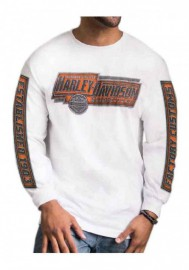 Harley-Davidson Hommes Validation manches longues col rond Cotton Shirt White 30292331