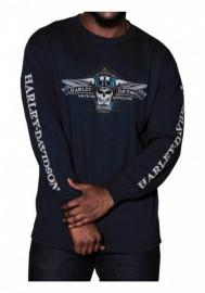 Harley-Davidson Hommes Aviator Skull manches longues col rond Shirt Navy Blue 30294688