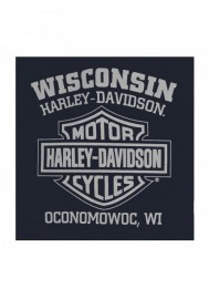 Harley-Davidson Hommes Aviator Skull manches longues col rond Shirt Navy Blue 30294688