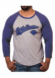 Harley-Davidson Hommes Game Day H-D Raglan 3/4 Sleeve Shirt Blue & Gray Heather 30294484