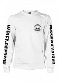 Harley-Davidson Hommes Skull Badge Chest Pocket manches longues Shirt White 30294384