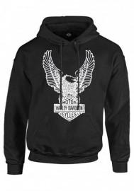 Harley-Davidson Hommes Pullover Sweat à capuche Sweatshirt Eagle à capuche Noir 30296662