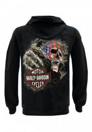 Harley-Davidson Hommes Custom Skull & Stars Fleece Full-Zip Sweat à capuche - Solid Noir 30298988
