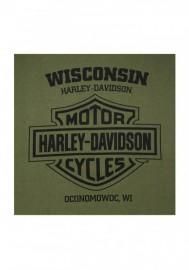 Harley-Davidson Hommes Valor Skull Button Pullover Fleece Sweatshirt - Green 30292421