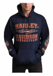 Harley-Davidson Hommes Scorch B&S Pullover Poly-Blend Sweat à capuche - Navy Blue 30292422