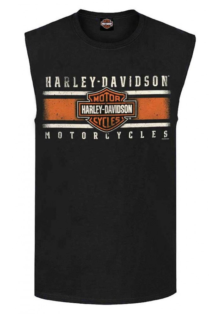 Harley-Davidson Hommes Custom Iconic Sleeveless col rond Muscle Shirt - Noir 30298978